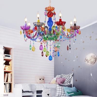 Kindergarten Candle Chandelier Crystal 6/8 Lights Decorative Color Suspension Light