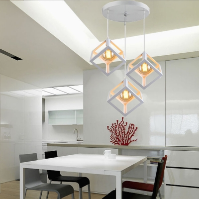 Metal Square Cage Ceiling Light Dining Room Kitchen 3 Lights