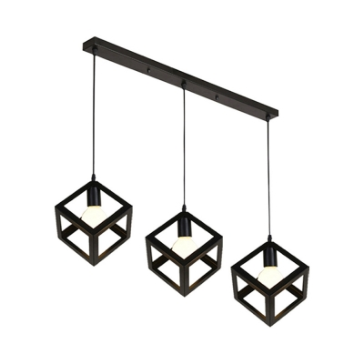 Metal Square Cage Suspension Light 3 Lights Nordic Style Hanging Light for Living Room