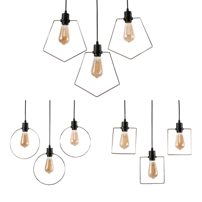 Restaurant Circle/Pentagon/Square Hanging Lamp Metal 3 Lights Antique Style Pendant Light