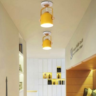 Rotatable Rotatable Cup Semi Flush Ceiling Light Living Room 1 Light Macaron Loft Down Light