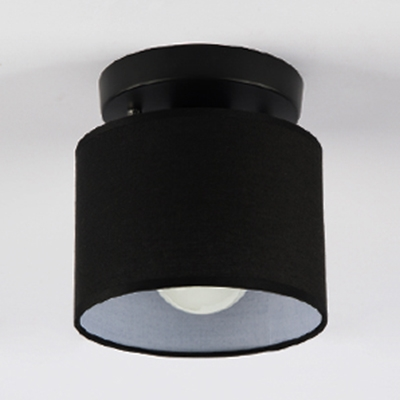 Simple Style Drum Flush Light One Light Fabric Ceiling Light in Black/White for Bedroom