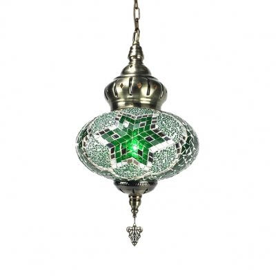 Stained Glass Lantern Shape Pendant Light Hallway Foyer 1/4 Pack 1 Light Moroccan Suspension Light(not Specified We will be Random Shipments)