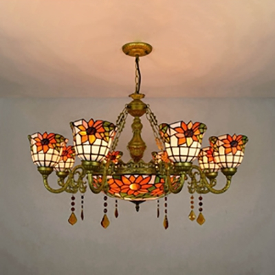 Stained Glass Sunflower Chandelier Villa 9 Lights Tiffany Style Rustic Suspension Light