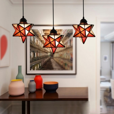 Tiffany House/Star Ceiling Pendant Stained Glass 1 Light Suspension Light for Dining Room