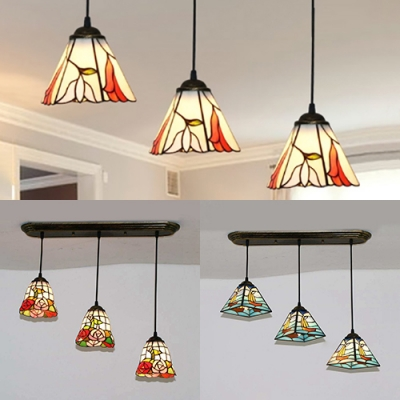 Tiffany Multi-Color Pendant Light Boat/Flower 3 Lights Glass Suspension Light for Study Room
