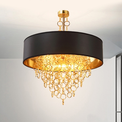 Traditional Black Pendant Light Round Shade 3/4 Lights Fabric Chandelier with Ring for Bedroom