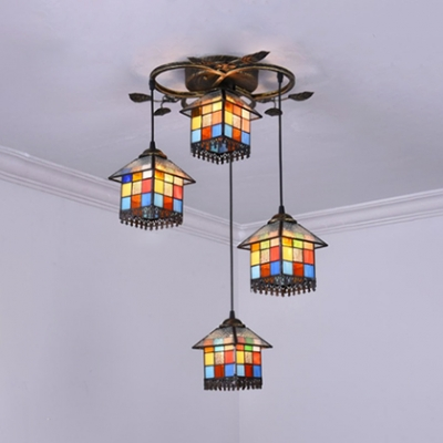 Villa House Shade Ceiling Pendant Stained Glass 4 Lights Tiffany Antique Suspension Light