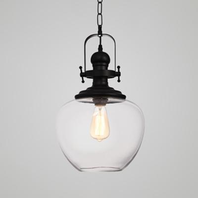 Vintage Gyro/Sphere Shade Pendant Light Clear Glass 1 Light Black Hanging Lamp for Hallway Foyer