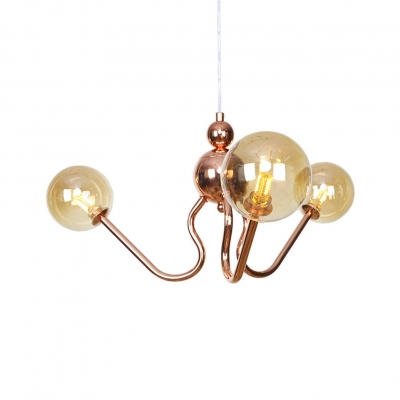 Vintage Style Globe/Tube Chandelier Amber/Clear Glass Copper Pendant Light for Dining Room