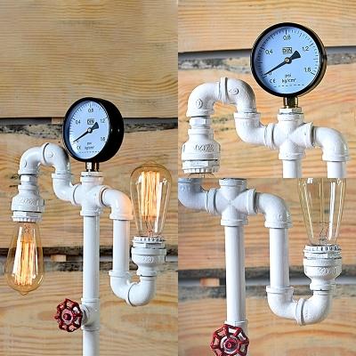 White Water Pipe Desk Light 2 Lights Vintage Style Edison Bulb Reading Light for Bar Boutique
