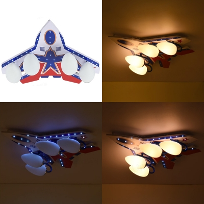Wood Airplane Semi Flush Mount Light American Style Ceiling Lamp in Blue/Red for Boy Bedroom