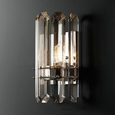 1/2 Lights Drum LED Wall Light Luxurious Style Clear Crystal Wall Lamp in Chrome/Gold for Hotel
