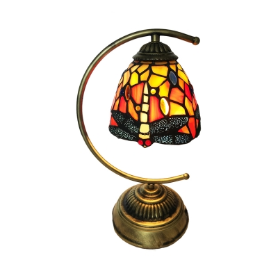 1 Head Dragonfly Desk Light Tiffany Rustic Stained Glass Table Light in Brass for Study Room