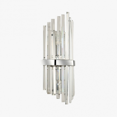 2 Lights LED Wall Light Modern Style Linear Clear Crystal Wall Lamp in Chrome for Bathroom Kitchen