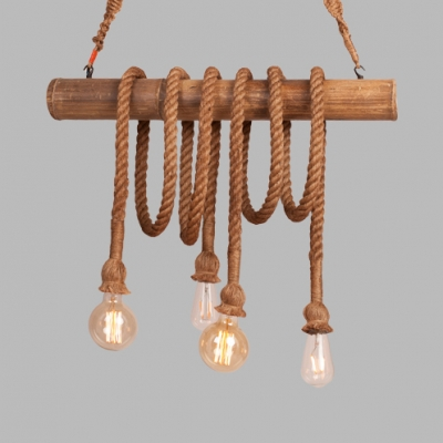 4 Heads Bare Bulb Island Light Rustic Stylish Wood Rope Island Pendant in Beige for Lodge