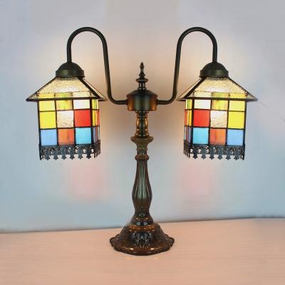 Multi-Color House Desk Light 2 Heads Antique Tiffany Art Glass Table Light for Study Room