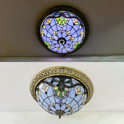 Domed Living Room Ceiling Light Stained Glass Tiffany Victorian Flush Mount Light in Blue/Yellow