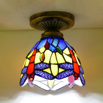 Classic Tiffany Blue/Orange Ceiling Lamp Dragonfly 1 Head Stained Glass Flush Light for Kitchen