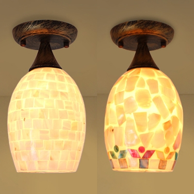 Beige/Colorful Oval Ceiling Lamp 1 Bulb Mosaic Shell Flush Ceiling Light for Bedroom Porch