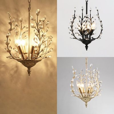 Black/Champagne/Gold Candle Chandelier with Crystal Leaf & Twig 4 Bulbs Antique Metal Hanging Light for Cloth Shop