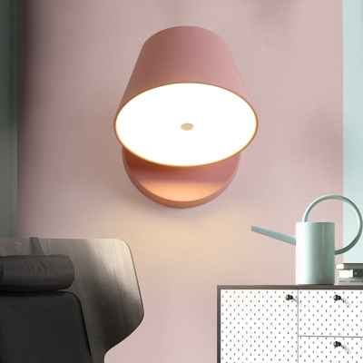 Black/Pink/White/Yellow Tapered Shade Sconce Lighting Nordic Iron Body LED Wall Lamp for Bedside Stairs