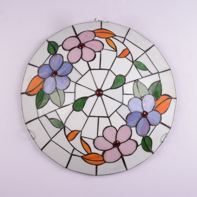 Blossom Dining Room Ceiling Mount Light Stained Glass Rustic Tiffany Flush Ceiling Light
