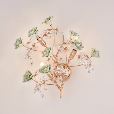Ceramics Flower Wall Light With Flower Living Room 3 Lights Elegant Style Sconce Light In Green Pink White Beautifulhalo Com