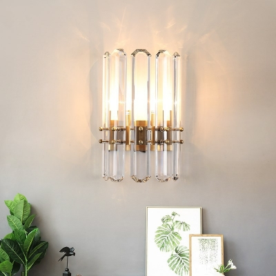 Clear Crystal Cylinder Wall Sconce Living Room Corridor Contemporary Wall Light in Gold