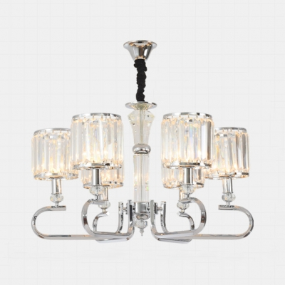 Clear Crystal Drum Chandelier Dining Room 3/6 Lights Luxurious Style Hanging Lamp in Chrome
