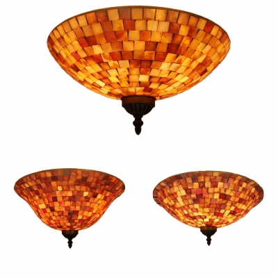 Glass Bell Shade Ceiling Mount Light Study Room Mosaic Simple Flush Light in Beige