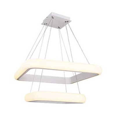 Gray/White Rectangle Hanging Chandelier Contemporary 1/2-Tier Acrylic Hanging Ceiling Light for Living Room