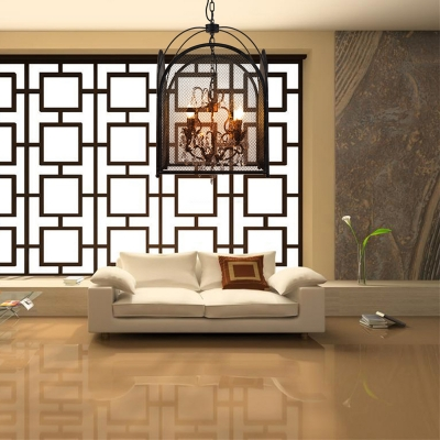 Living Room Candle Pendant Lamp with Mesh Screen & Crystal Metal 4 Lights Black Chandelier