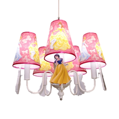 Lovely Blue/Pink Ceiling Pendant Princess Five Lights Metal Chandelier with Fabric Shade for Girls Bedroom