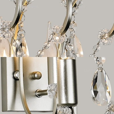 Luxurious Candle Sconce Light Two Lights Metal Wall Lamp with Crystal in Gold for Bedroom Foyer