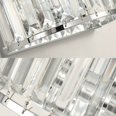 luxurious Drum Wall Light 2 Lights Clear Crystal Wall Sconce in Chrome for Hallway Bathroom