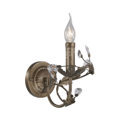 Metal Candle Shaped Sconce Light with Crystal Plant Bedroom 1/2 Lights Vintage Stylish Wall Lamp