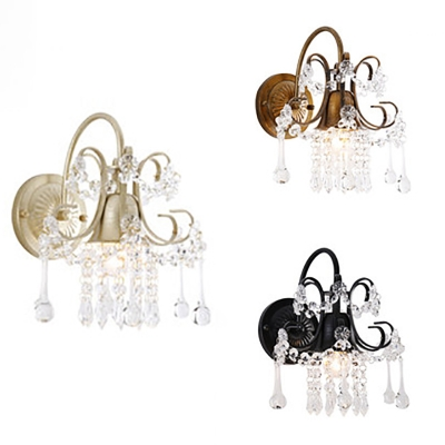 Metal Flower Wall Light with Crystal Single Light Rustic Style Sconce Light in Black/Brass/Champagne for Cafe