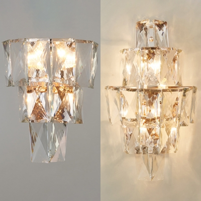 Modern Style Wall Sconce Glittering Clear Crystal Wall Lamp for Hotel
