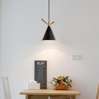Nordic Stylish Conical Pendant Light One Bulb Metal Suspension Light in Black/Gray/White for Cloth Shop