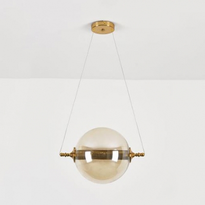 Post Modern Sphere Shade Cord Hanging Light Glass 2 Lights Pendant Lamp in Amber/Clear/Smoke/Tan