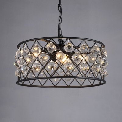 Round Cage Villa Pendant Light Iron 4 Heads Rustic Style Chandelier in Black with Striking Crystal Ball