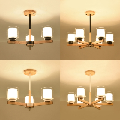 Simple Style Cylinder Chandelier Wood 3/6 Lights Black/White Pendant Light for Living Room