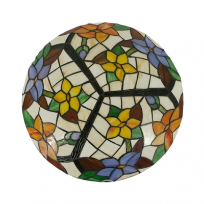 Stained Glass Flower/Sunflower Ceiling Fixture 16 Inch Rustic Tiffany Ceiling Mount Light for Bedroom