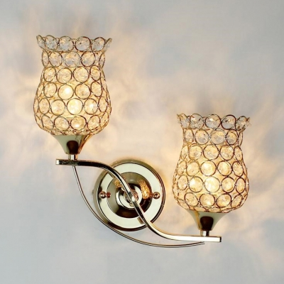 Stair Bedroom Bud Wall Lamp Metal 2 Heads Modern Style Gold Sconce Light with Crystal Beads