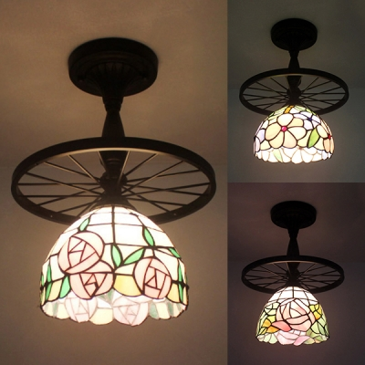Tiffany Rustic Blossom Ceiling Lamp with Wheel Stained Glass 1 Head Black Semi Flushmount Light for Kitchen