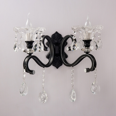 Traditional Flower Wall Light with Glamorous Crystal Metal 1/2 Lights Black Sconce Light for Bedside