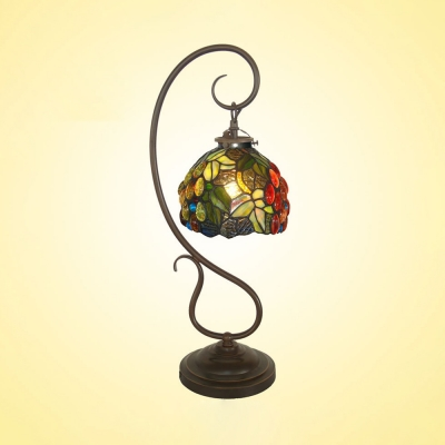 Tiffany Rustic Table Light with Curved Arm Flower/Grape One Head Metal Table Lamp for Bedroom Hotel