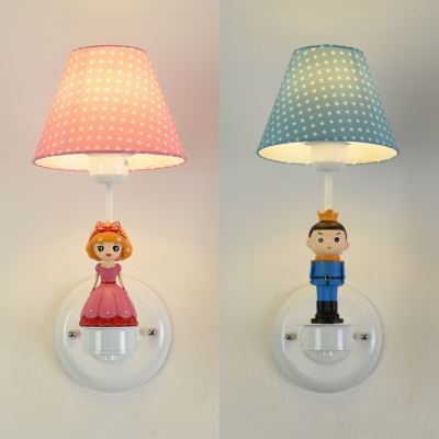 Fabric Dot Shade Wall Sconce With Kids Deco Child Bedroom 1 Light Cute Wall Light In Blue Pink Beautifulhalo Com