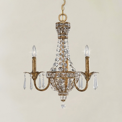 Antique Brass Candle Pendant Light with Striking Crystal 3 Heads Metal Chandelier for Hotel